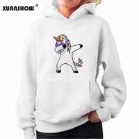 2017 New Autumn Winter Kawaii Female Tops Dabbing Unicorn Printing Casual Women S Hoodies Cute Cartoon