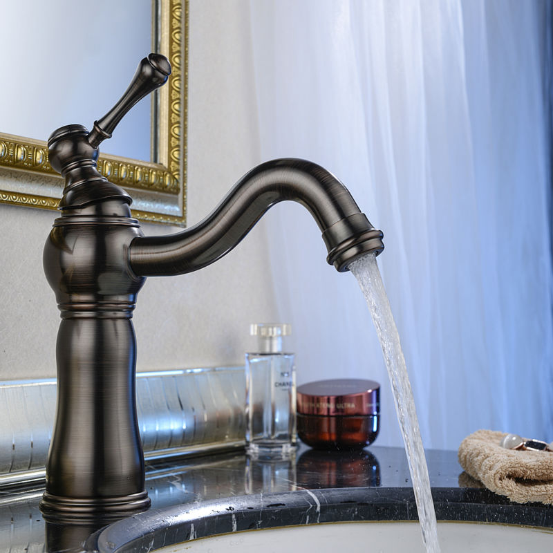 Luxurious Contemporary Unique Single Lever Single Hole Oil Rubbed Bronze Bathroom Faucet ORB Lavatory Basin Mixer Tap allen roth brinkley handsome oil rubbed bronze metal toothbrush holder