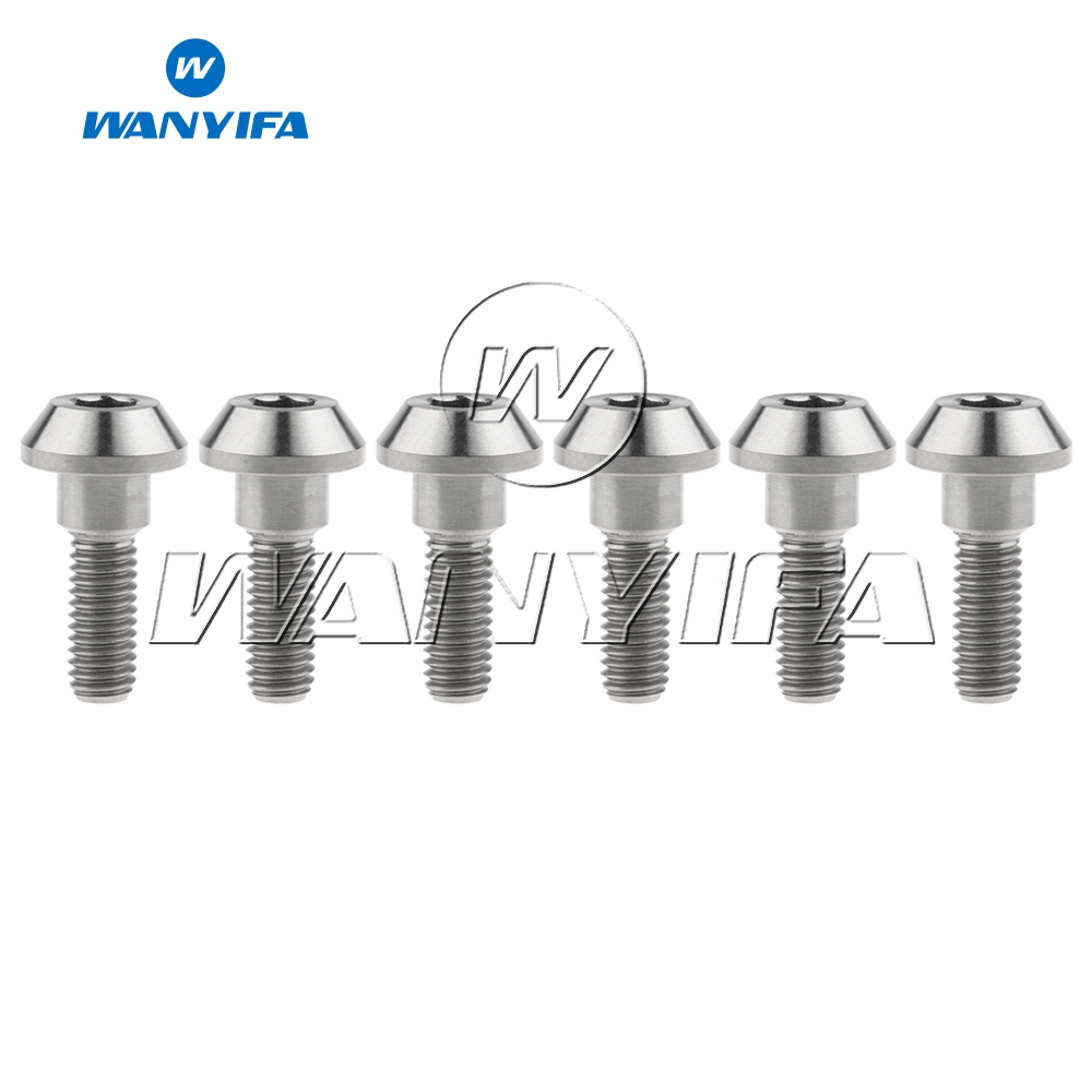 Wanyifa 6Pcs Titanium Bolts Screws M6 X 20mm Tapered Ball Head for Bicycle Brake Bike Parts