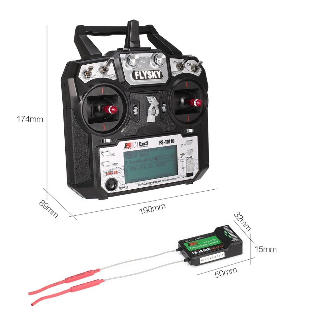 US $57 59 36% OFF|Original! Flysky FS TM10 FS i6X 10CH 2 4GHz AFHDS RC  Transmitter Radio Model Remote Controller System with FS IA10B Receiver-in