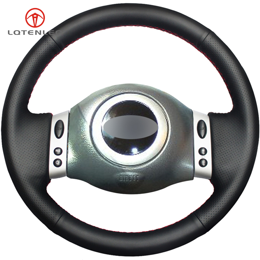 LQTENLEO Black Genuine Leather DIY Hand stitched Car Steering Wheel Cover for Mini Coupe 2001 2006