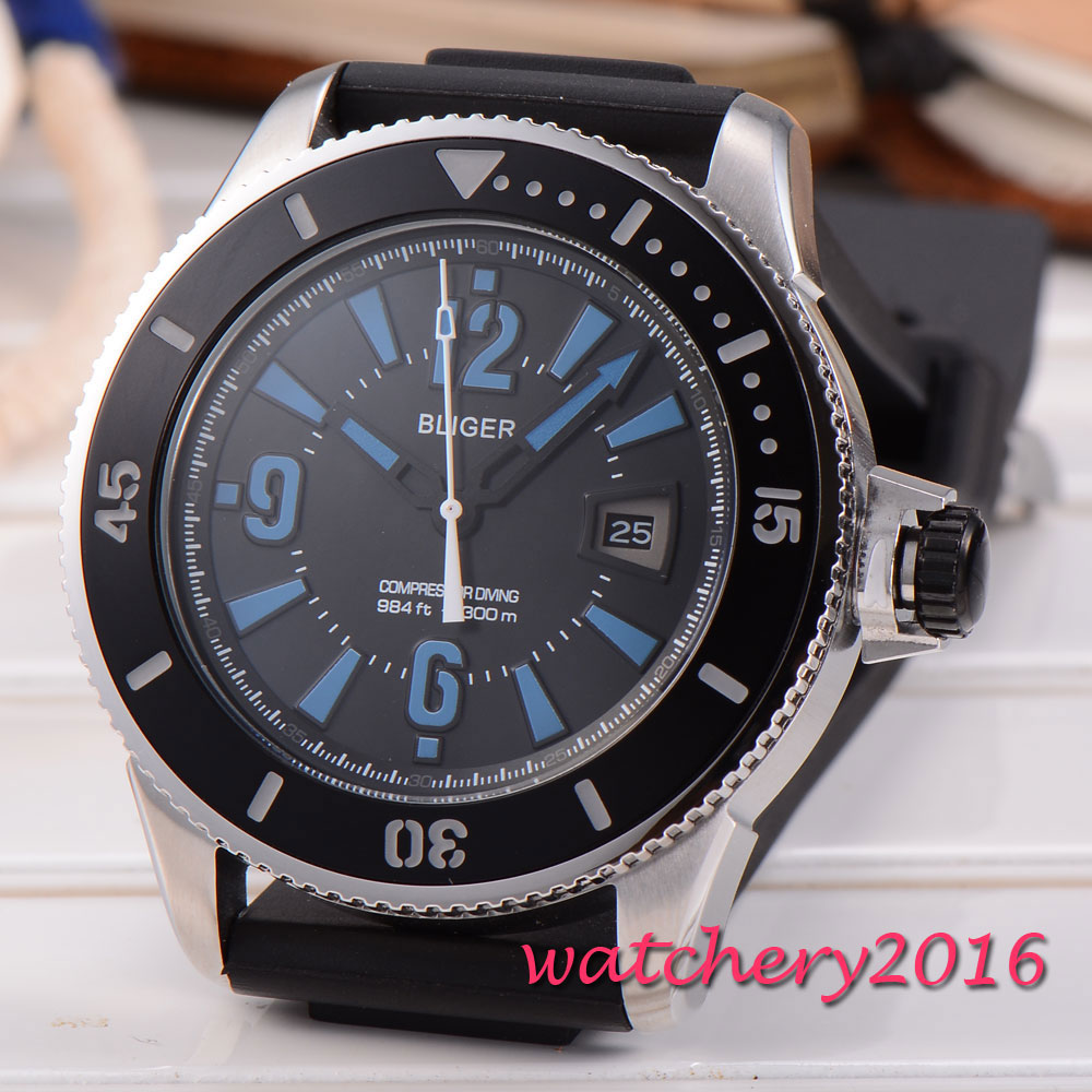 43mm Bliger black dial blue numbers men watches 2017 luxury top brand Newest Hot miyota 8215 automatic movement Men