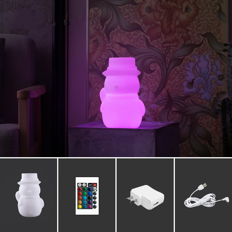 USB Charging Remote Control Colorful Snowman LED Night Light Children Bedroom Bedside Lamp Christmas Birthday Gift Kids Toys 3d christmas snowman shape touch colorful night light
