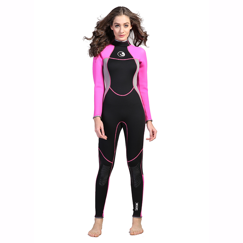 Women Neoprene 3mm Scuba Diving Wetsuit Spearfishing Surfing Dive Swimming Equipment One Piece Long Sleeve Surf Warm Wet Suit