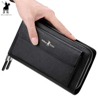 Men Clutch Bag Wallet Genuine Leather Strap Flap Clutches with 21 Card Holder Elegant Handy Wallet For Male 312