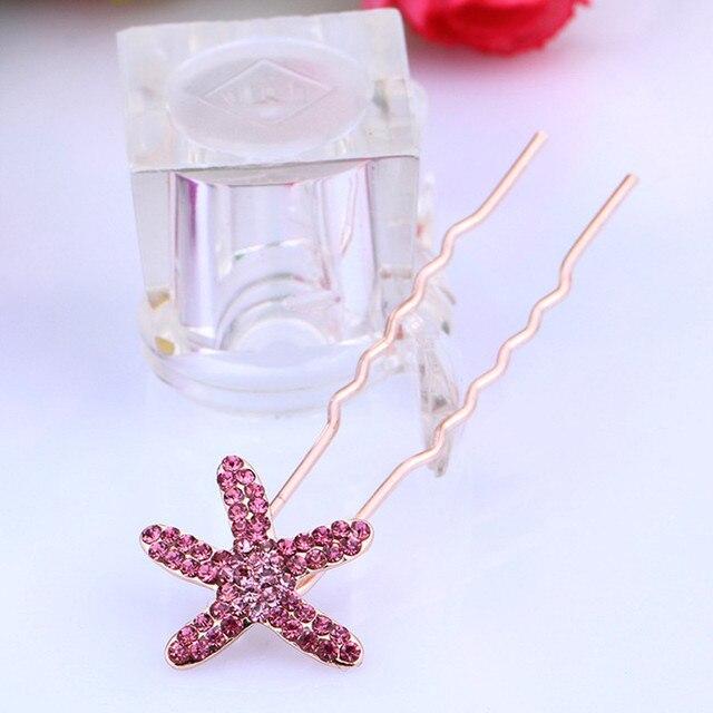 5 Farben Hochzeit Braut Haarschmuck Strass Chlips Starfish Haar Pins