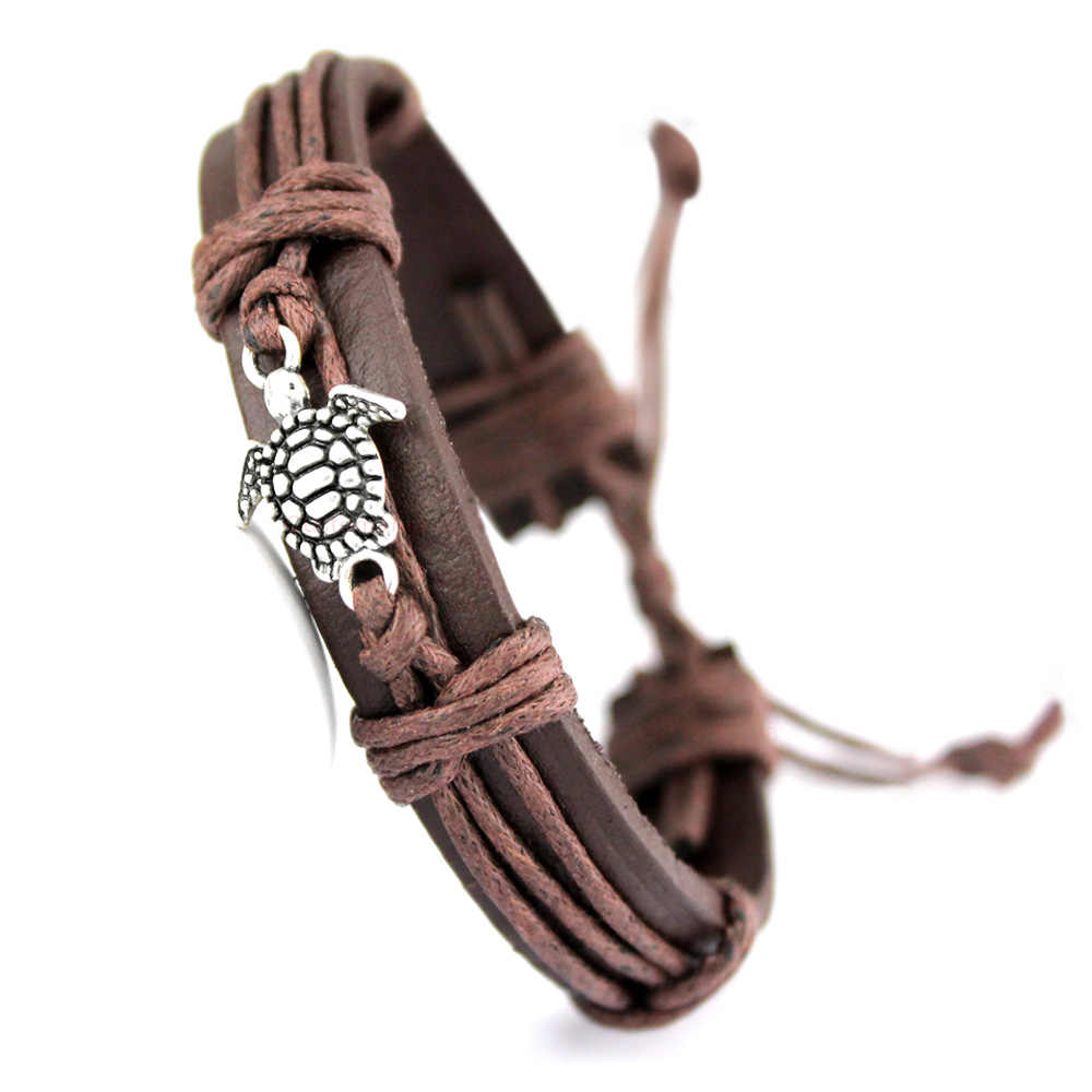 Turtle Tortoise Bee Charm Leather Bracelets Paw Fish Bone Scissors Shears Skull Eiffel Tower Arrow Animal Unisex Jewelry Gift