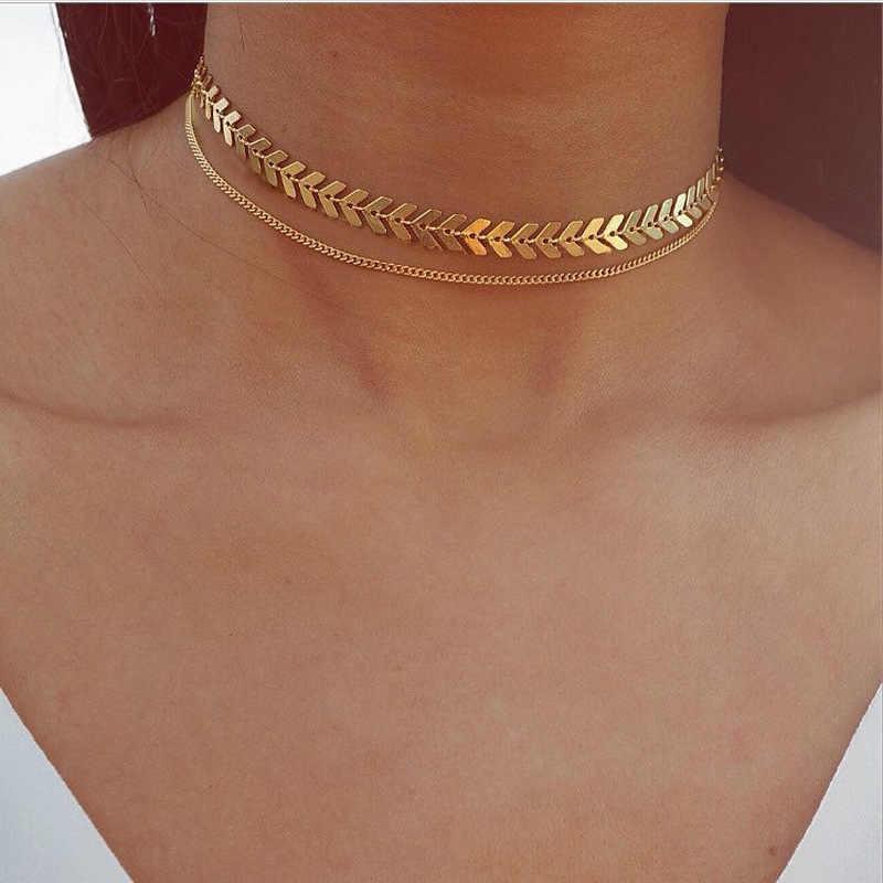 ファッションチョーカーネックレス入れ墨鎖骨collares女性ジュエリー葉魚骨三角形チェーン矢ミニマリスト