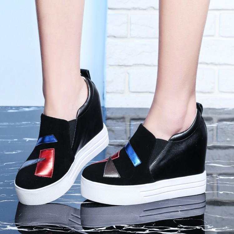 Ladies Leisure Platform Hidden Wedge Heels Slip on Sneakers