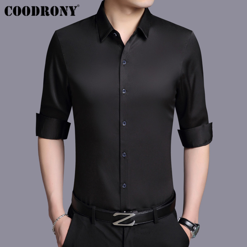 Coodrony Men Shirt Autumn Long Sleeve Business Dress Cotton Shirt Men Classic Solid Color Slim Fit Plus Size Casual Shirts 96001