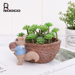 Image 3 - Roogo Cute Resin Animal Pots For Flowers Squirrel Nuts House Cachepot Cartoon Flower Pot Succulent For Home Garden Decoration