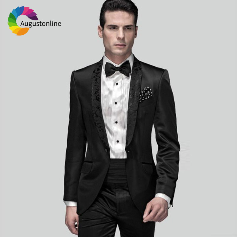 Pattern Floral Lapel Black Men Suits for Wedding Men Suits Pants Custom Made Male Blazers Jacket 2Piece Slim Fit Groom Tuxedo in Suits from Men 39 s Clothing