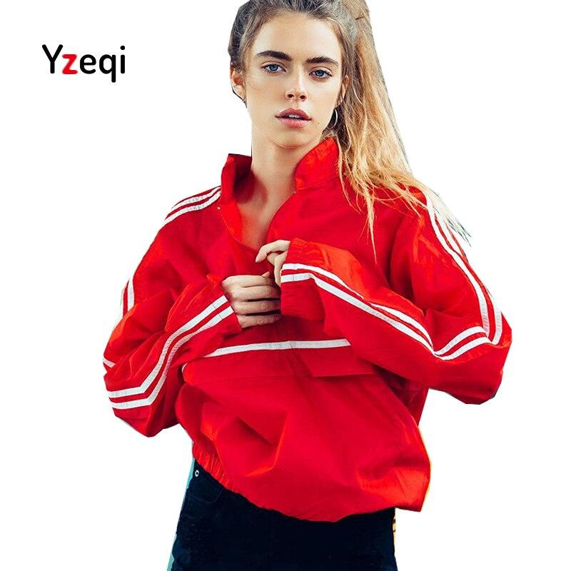 Yzeqi Bomber Jacket Spring Casual Women 2018 Half Zip Up Full Red Thin Windbreaker Jacket Turtleneck Loose Coat Jacket Women