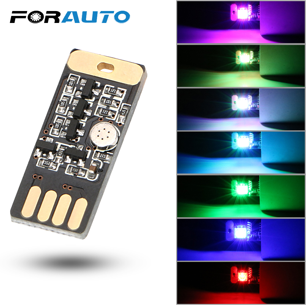Auto Decorative Lamp Car LED USB RGB Atmosphere Light Mini Emergency Lighting Car Styling Voice And Touch Control 7 Colors