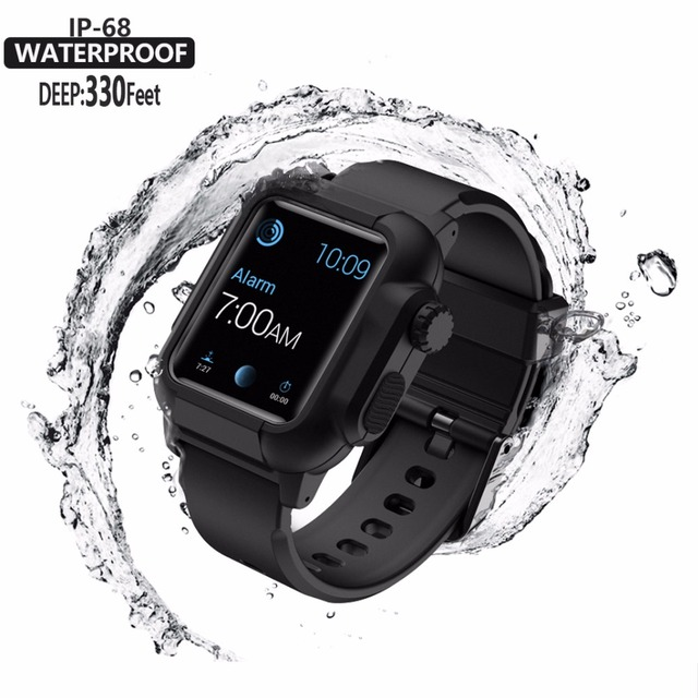 official photos 64890 db5c7 US $15.31 48% OFF|Waterproof Shock Proof Impact Resistant case for Apple  Watch series 3 2 Soft Silicone band for iwatch band 42mm accessories-in ...