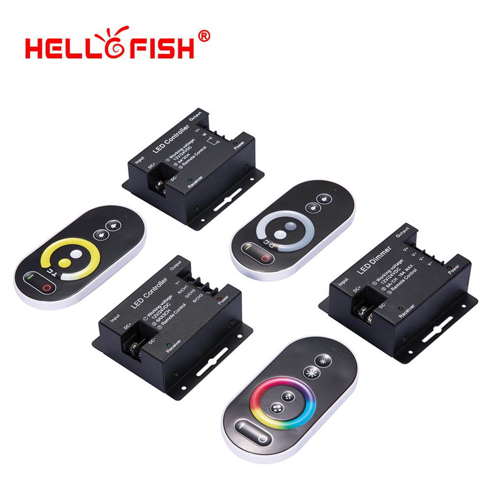 RGB LED Strip Controller Touch Remote Control RF Wireless 12V 24V 18A LED Driver Hello Fish