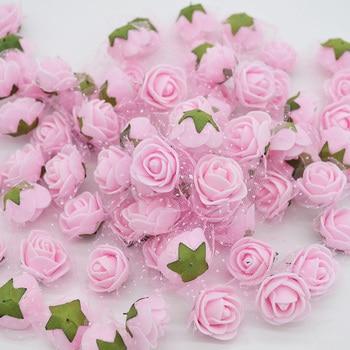 50pcs/lot Mini Cute Artificial Rose Flowers Head Handmade DIY Wedding Home Decoration Multi-use Lace PE Foam Party Supplies