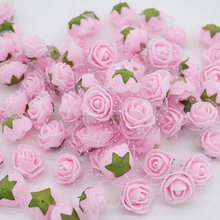 50pcs/lot Mini Cute Artificial Rose Flowers Head Handmade DIY Wedding Home Decoration Multi-use Lace PE Foam Rose Party Supplies(China)