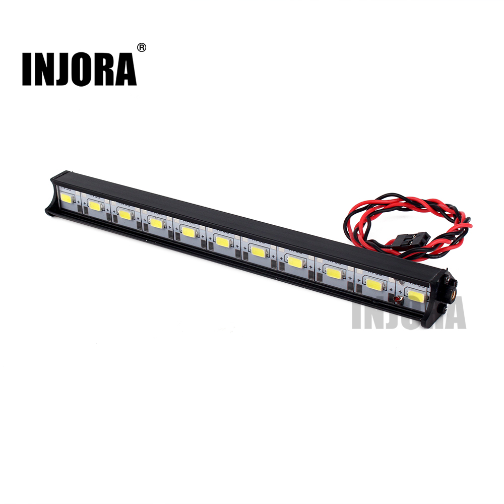 INJORA 150MM Super Bright Metal 11LED Lights Bar for 1/10 RC Crawler Axial SCX10 Jeep Wrangler Body rc car xtra speed 1 10 nylon angry eyes grill body for 1 10 scale models jeep wrangler body xs 59758 scx10 jeep climbing cars