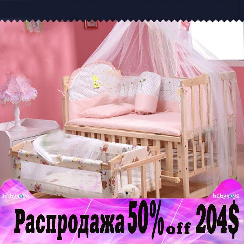 Bambino letto ispessito paraurti letto gioco multifunzionale con rullo shaker pino di legno del bambino lettino con reti di trasporto libero