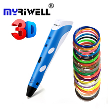 Myriwell Best Birthday Gifts 3d Pen for Kids Diy Drawing Pen Smart Printing Printer with ABS Filament Tool Toys 3 d Pen Caneta myriwell 3d pen rp 100b with pla abs filament 200m 3d printer pen 3 d pen free fingersleeve drawing tool the best child gift