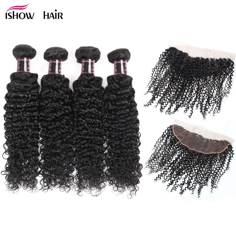 Ishow Mongolian Kinky Curly Hair 4 Bundles With Lace Frontal Closure Baby Hair Natural Color Curly Weave Human Hair With Closure