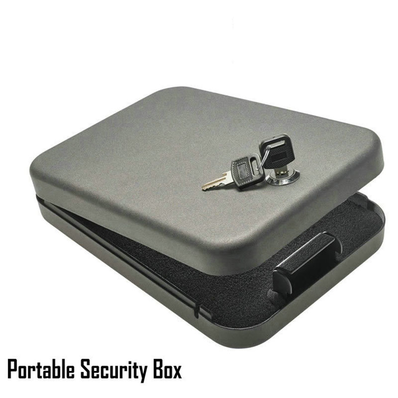 Security key safes portable car safe box handgun valuables money jewelry storage box strongbox 1.2mm cold-rolled steel sheet giantree portable money box 6 compartments coin steel petty cash security locking safe box password strong metal for home school