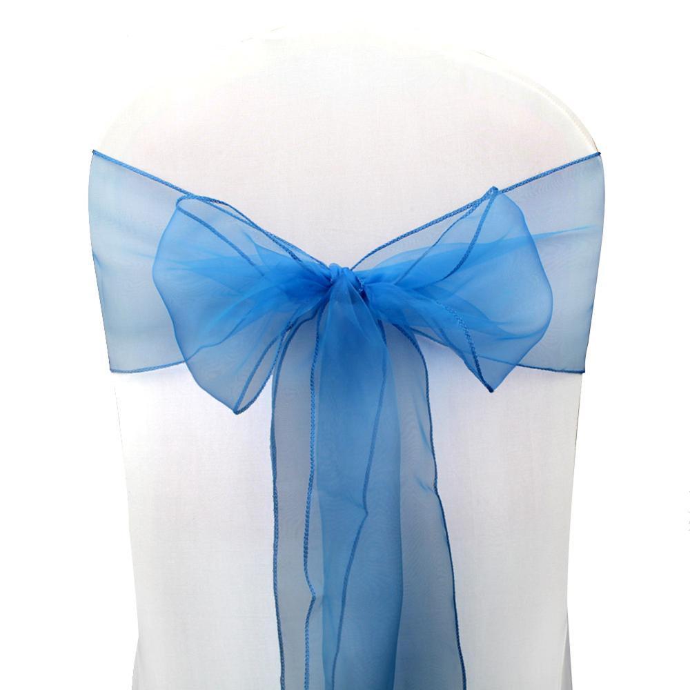 OurWarm, 18x275 см, органза, пояс для стула, бант, Чехол для стула, тюль, для свадьбы, вечеринки, банкета, Рождества, украшение, домашний текстиль - Цвет: DBU