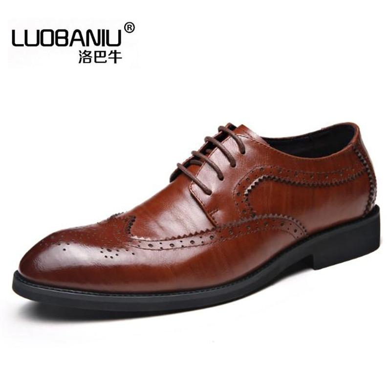 2017 musim semi mode ukuran Besar 36 46 48 Datar dengan pria sepatu hitam  Coklat Kulit c7b1e76aa6
