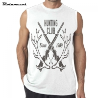 Top Brand 2017 New Arrival Men Fashion Summer Tank Top Huting Club Branch Gun Sign Sleeveless Men Casual Vest MWWQ098