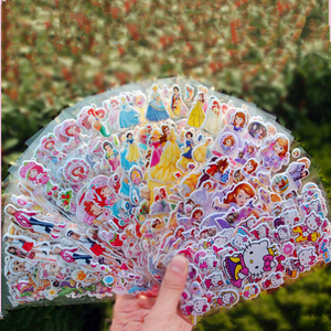 10 ملاءات 3D الكرتون ملصقات للماء فقاعة PVC ملصق يدوي الصنع الأميرة سيارة ميكي كيتي الفتيات الفتيان الاطفال الأطفال هدايا المكافآت