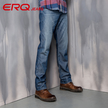 ERQ men's fashion solid mid waist Tencel skinny jeans men straight legged full length shaping comfort mens jeans 902039