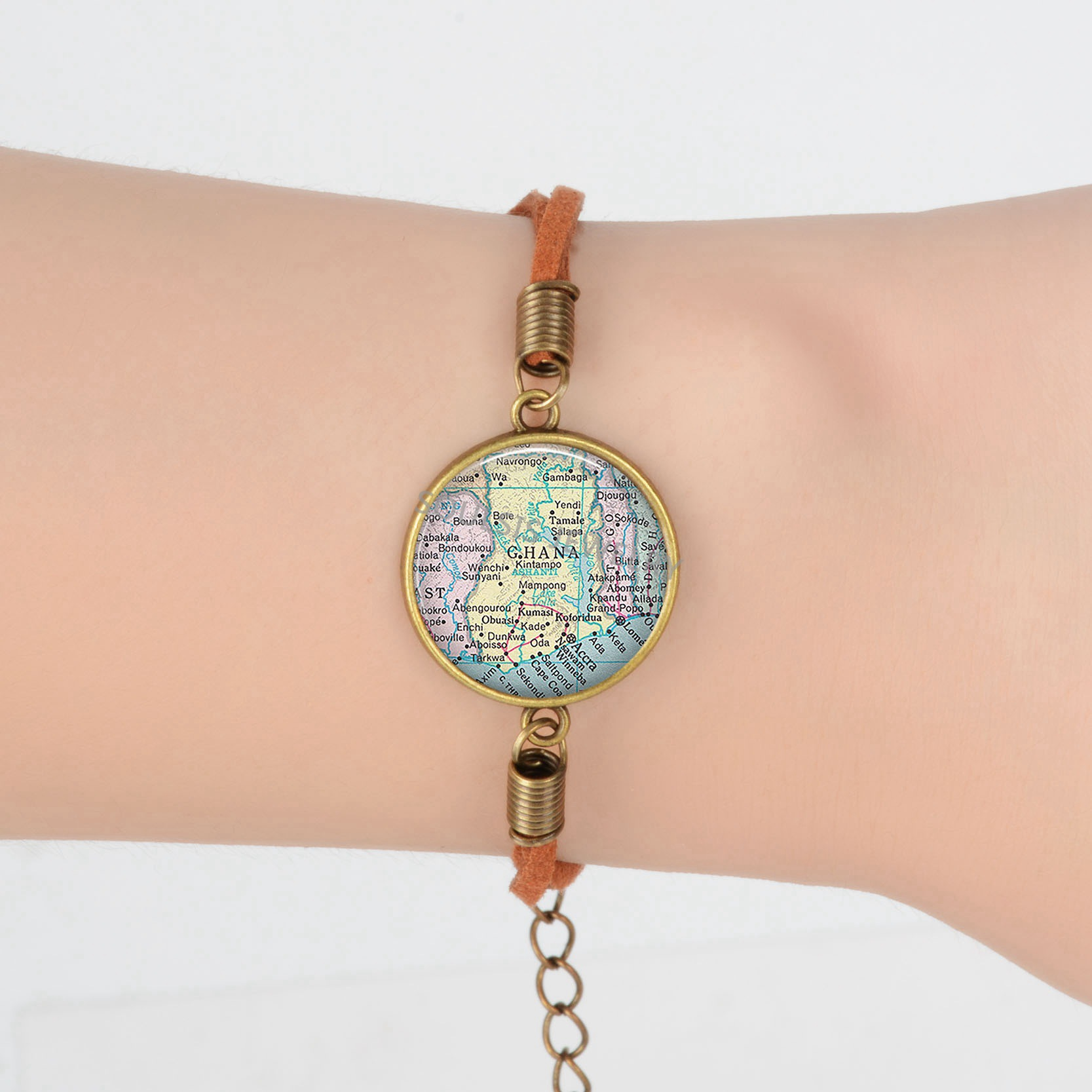 US $1 5 |Israel Georgia Wyoming Tennessee map Suede Leather Bracelet Earth  Vintage World Map Savannah Ghana Bracelets Art Glass Dome -in Charm