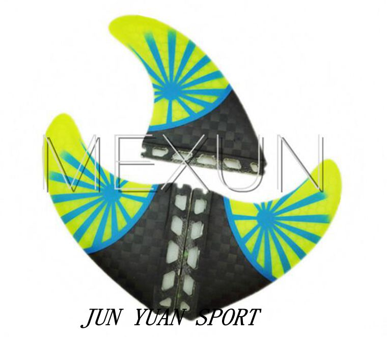 ФОТО Top quality Carbon Surf fin G5,  three set surfing fins Green black 2*G5 side fin 1*GX center rear,Free shipping!