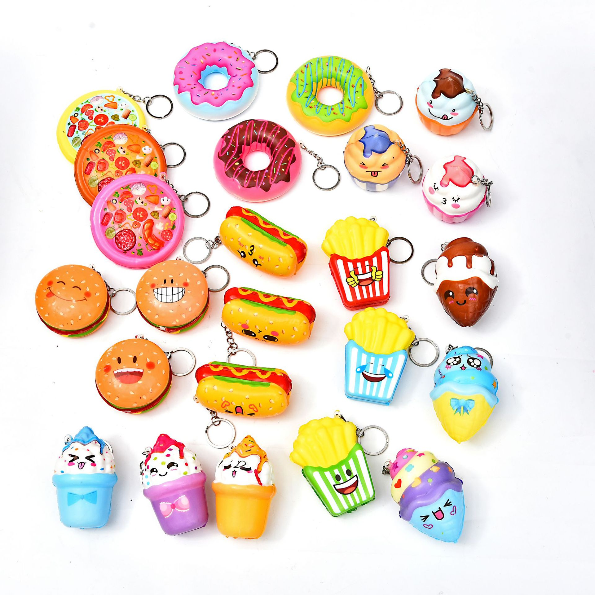 Kawaii Donut Squishy Keychain Ice Cream Slow Rising Cream Squishies Stress Relief Toy Antistress Toy For Children Adults Fidget