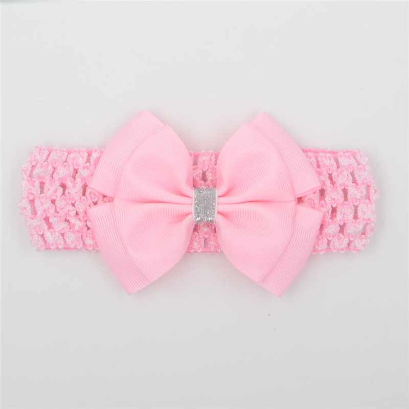 22 color   headwear   cute hair bow flower Headband Silver ribbon Hair Band Handmade DIY hair accessories newborn white pink