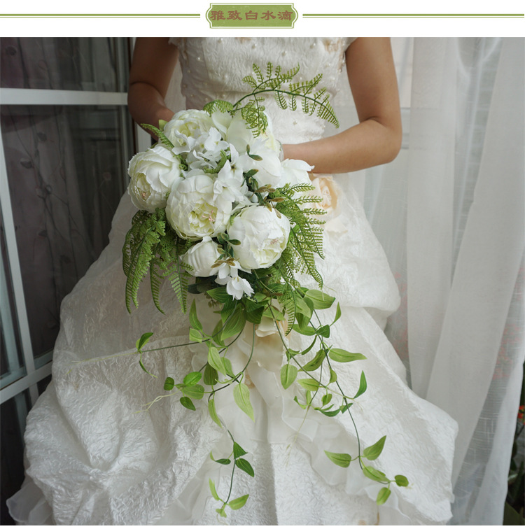 Artificial Wedding Bouquets.Ayicuthia 2018 Waterfall White Wedding Flowers Bridal Bouquets Artificial Wedding Bouquets Rose S12