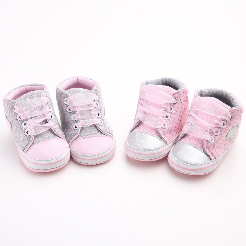 Autumn Lace-Up First Walkers Sneakers Shoes Classic Casual Baby Shoes Toddler Newborn Baby Girls Polka Dots Shoes