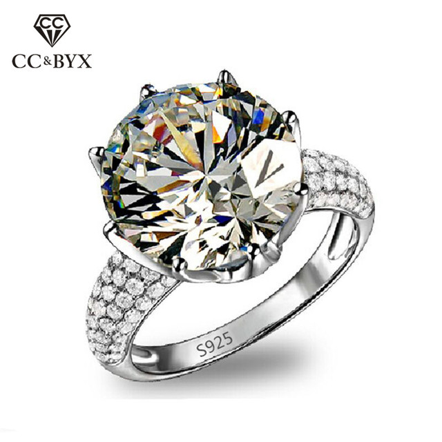 Bien connu 8 Carat Anillo White Gold Color Big Rings For Women AAA Zirconia  YQ95