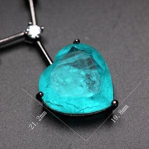 Image 5 - יוקרה ירוק כחול לב היתוך אבן תליון שרשרת לנשים וגרם מעוקב Zirconia chockers שרשרת תכשיטים bijoux