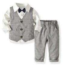 Г. Весенние блейзеры, костюм для мальчиков, Формальное школьное платье принцессы Детская рубашка джентльмена, жилет, брюки костюмы с галстуком-бабочкой, 4 шт