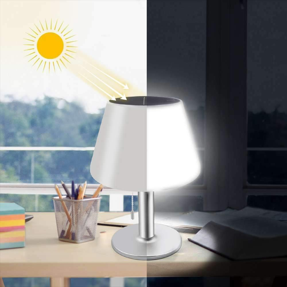 Table Lamp Led Solar Lights Indoor Outdoor Dimmable Rechargeable Night Light Mordern Desk Lamp for Bedside Bedroom