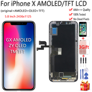 Image 1 - Black ZY OLED For iPhone X LCD Display Touch Screen Tianma TFT GX Digitizer Assembly Free Tools For iPhone X LCD