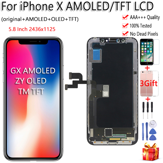 Black ZY OLED For iPhone X LCD Display Touch Screen Tianma TFT GX Digitizer Assembly Free Tools For iPhone X LCD