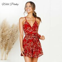 WildPinky Red Print Short Dress Women 2019 Summer Strap V Neck Party Sexy Backless Floral Bow Sashes A-Line Vestidos