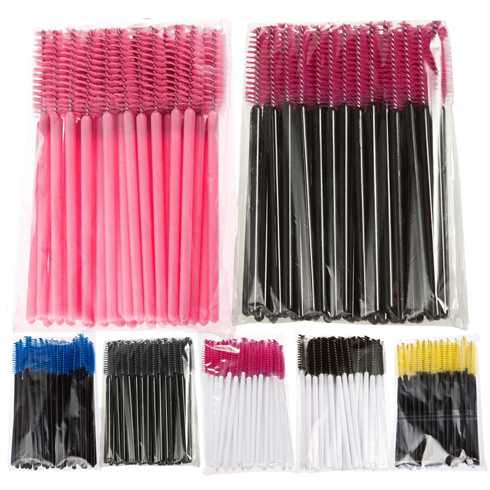 50PCS set Disposable Eyelash Brush Mascara Wands Applicator Spoolers Makeup Tool One off Eye Makeup Brush