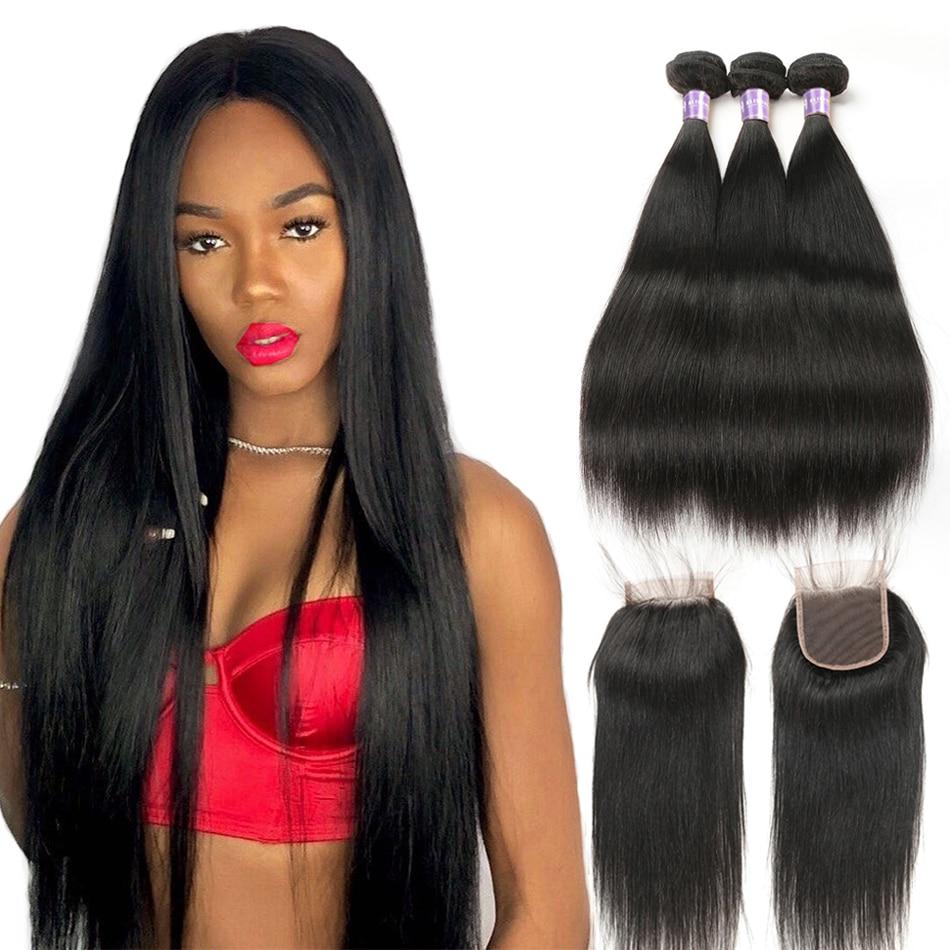 Alimice Hair Indian Straight Human Hair Bundles With Closure 3 Bundles Hair Extensions With Closure Natural