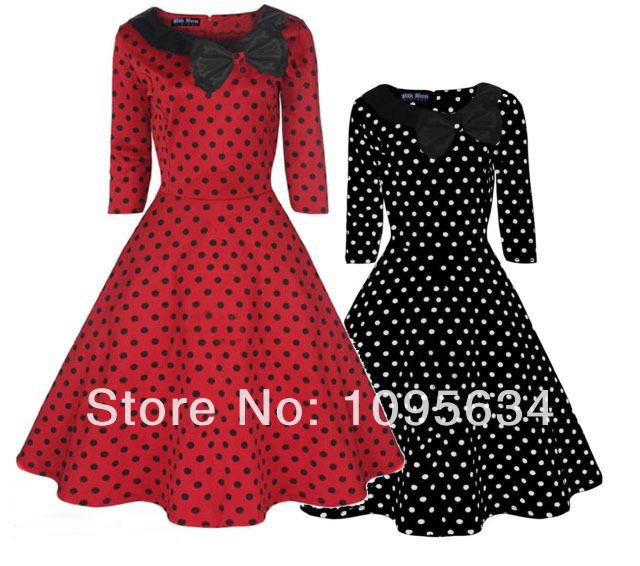 8ad37cfa940b free shipping 3/4 Sleeve 1950s 1960s rockabilly Party Polka Dot Collar  Dress S-6XL