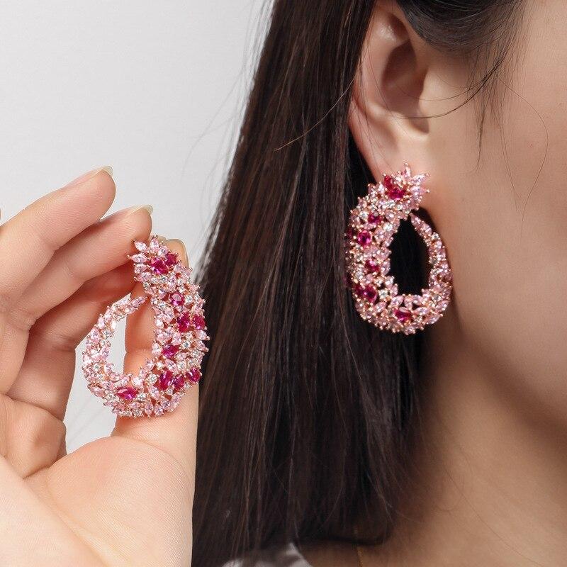 OUSNOW marque de mode haut de gamme luxe feuille boucles d'oreilles sertie de zircon tempérament sauvage oreille bijoux pour les femmes - 2