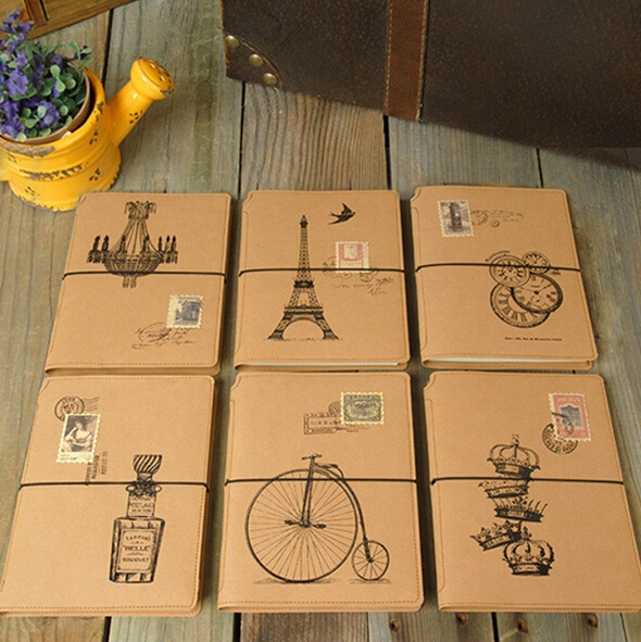 1pcs/lot New Vintage Cashmere paper notebook DIY blank inner draw sketch notes zakka School Supplies great gift good quality 1 design laser cut white elegant pattern west cowboy style vintage wedding invitations card kit blank paper printing invitation